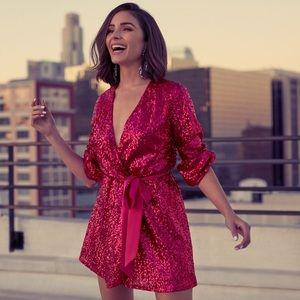 Olivia Culpo Surplice Sequin Wrap Dress